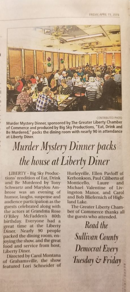 News Clip from Sullivan County Democrat April 19, 2019 about Eat Drink and Be Murdered event by the Greater Liberty Chamber of Commerce